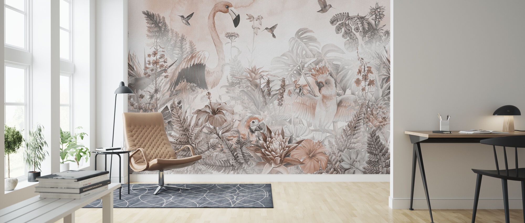 Giant Flamingo - Peach - Wallpaper - Living Room