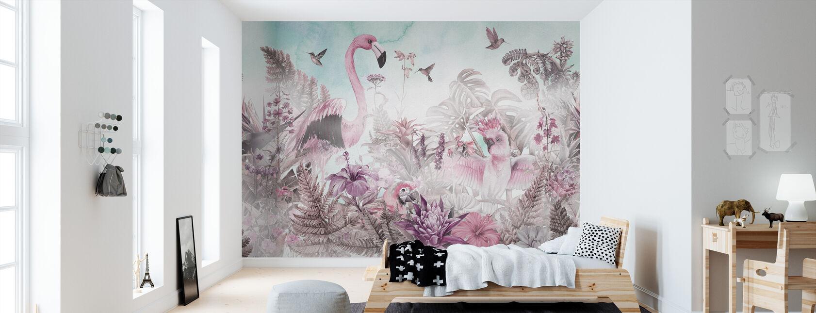 Giant Flamingo - Pink - Wallpaper - Kids Room