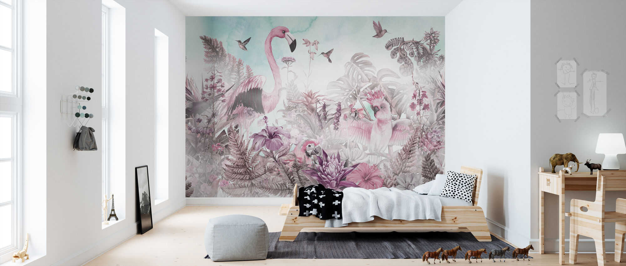 Giant Flamingo - Roze - Behang - Kinderkamer