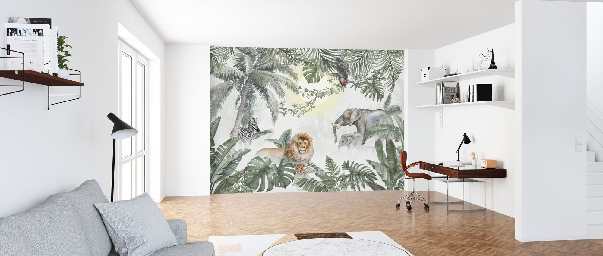 Jungle Animals - Olive - Wallpaper - Office