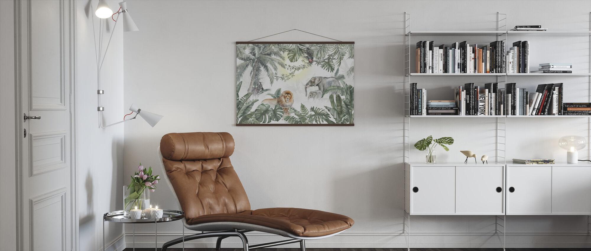 Jungle Animals - Olive - Poster - Living Room