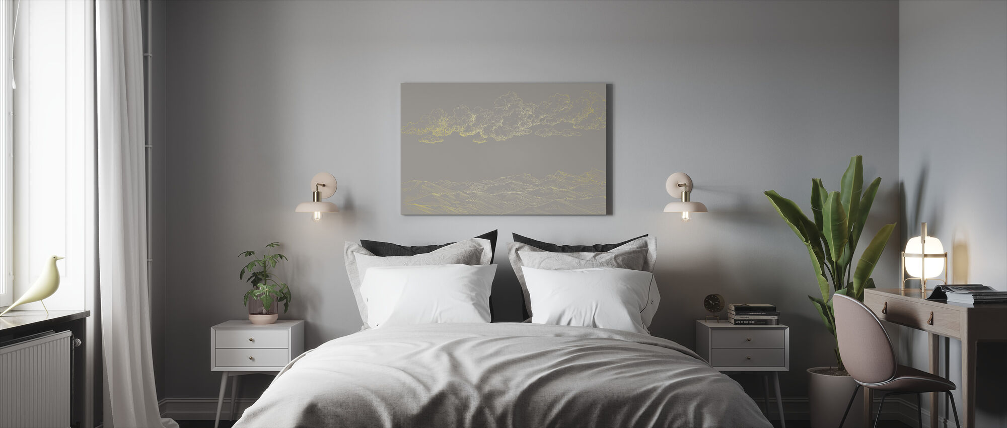 Between Clouds and Earth - Beige - Canvas print - Bedroom