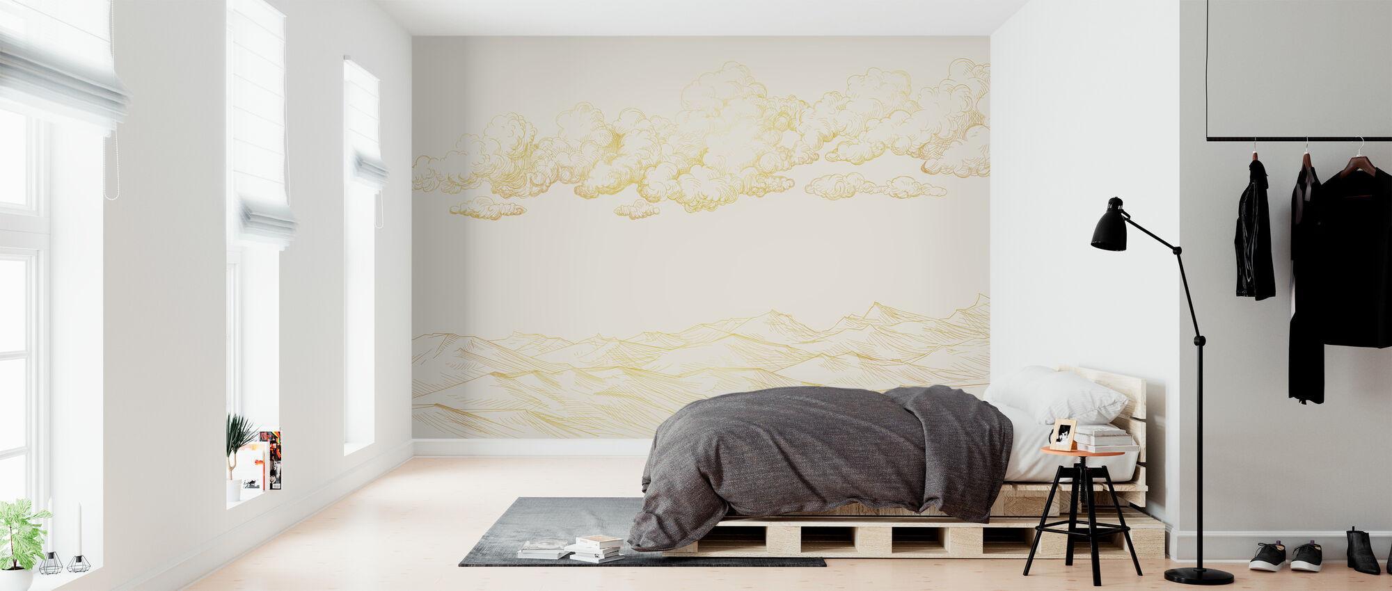 Pilvien ja maan välissä - Pehmeä beige - Tapetti - Makuuhuone