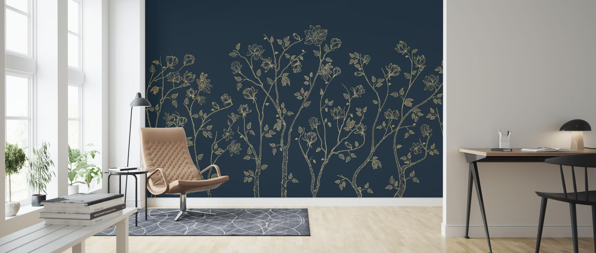 Crescent Vegetative - Blue - Wallpaper - Living Room