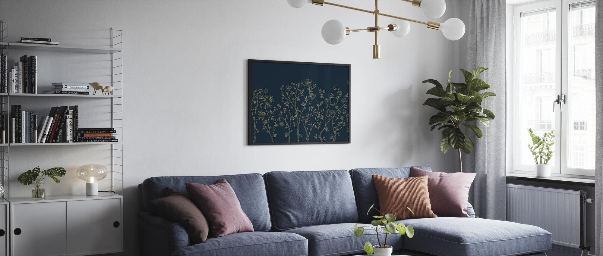 Crescent Vegetative - Blue - Framed print - Living Room