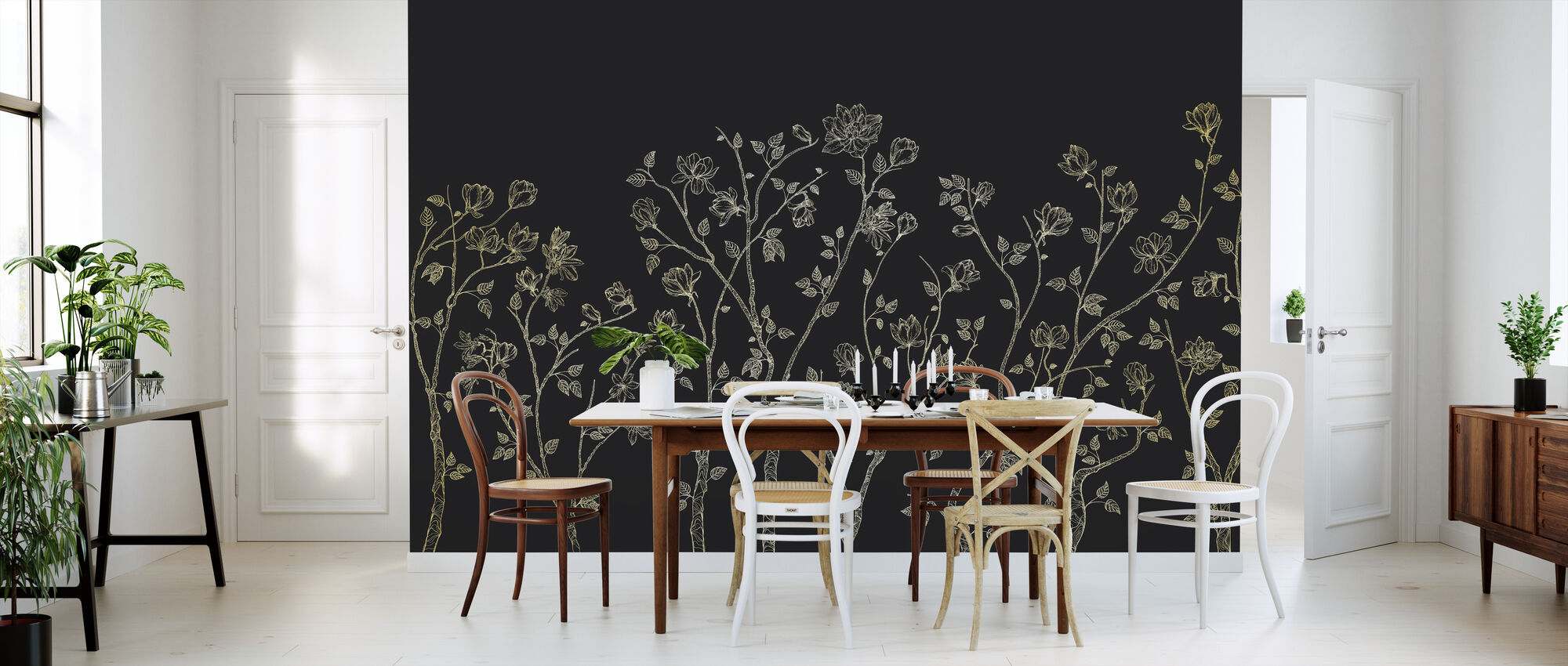 Crescent Vegetative - Dark Grey - Wallpaper - Kitchen