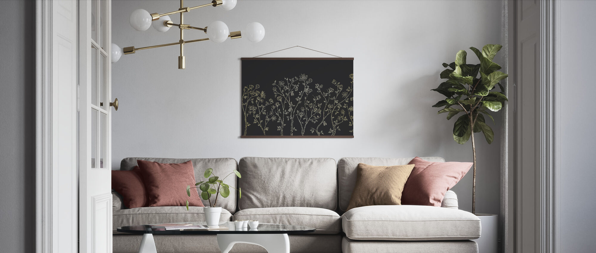 Crescent Vegetative - Dark Grey - Poster - Living Room
