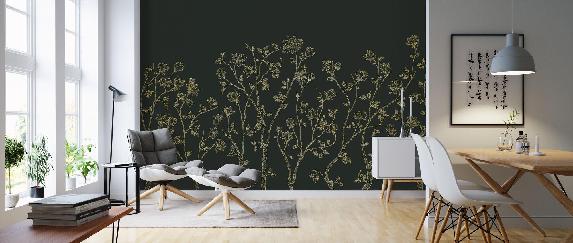Crescent Vegetative - Green - Wallpaper - Living Room
