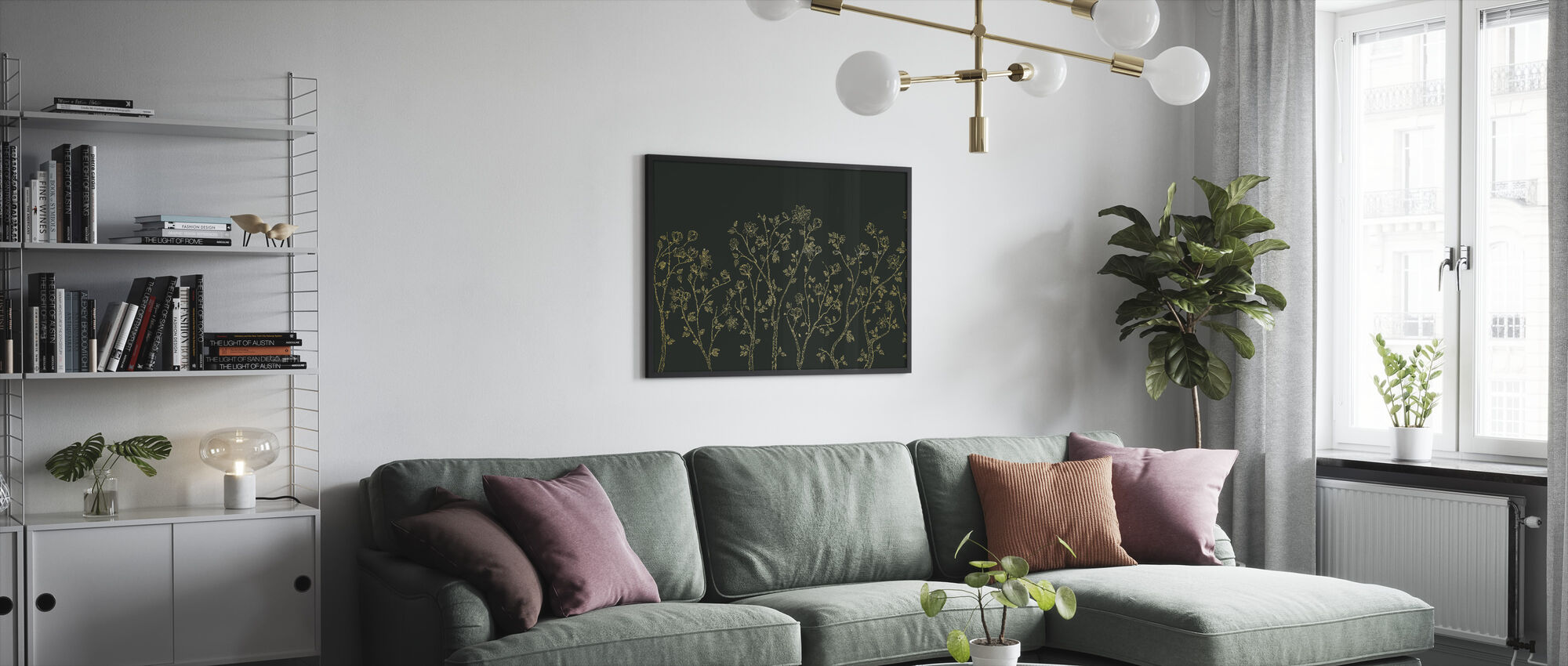 Crescent Vegetative - Green - Framed print - Living Room
