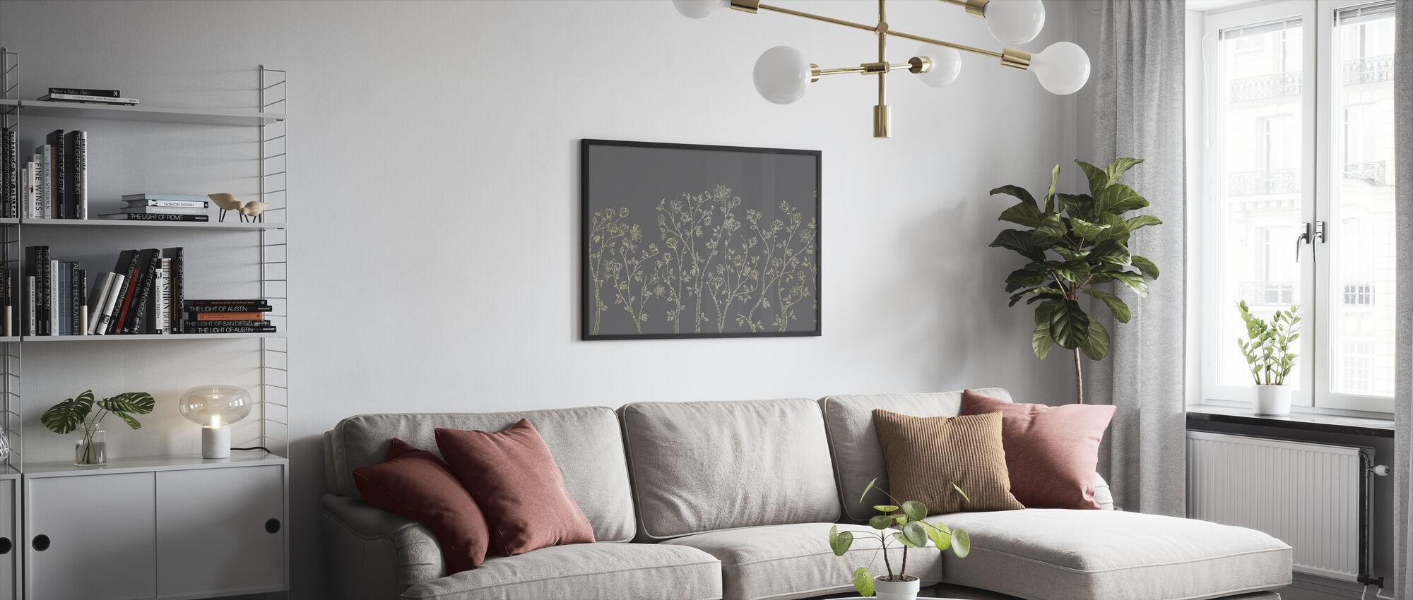 Crescent Vegetative - Grey - Framed print - Living Room