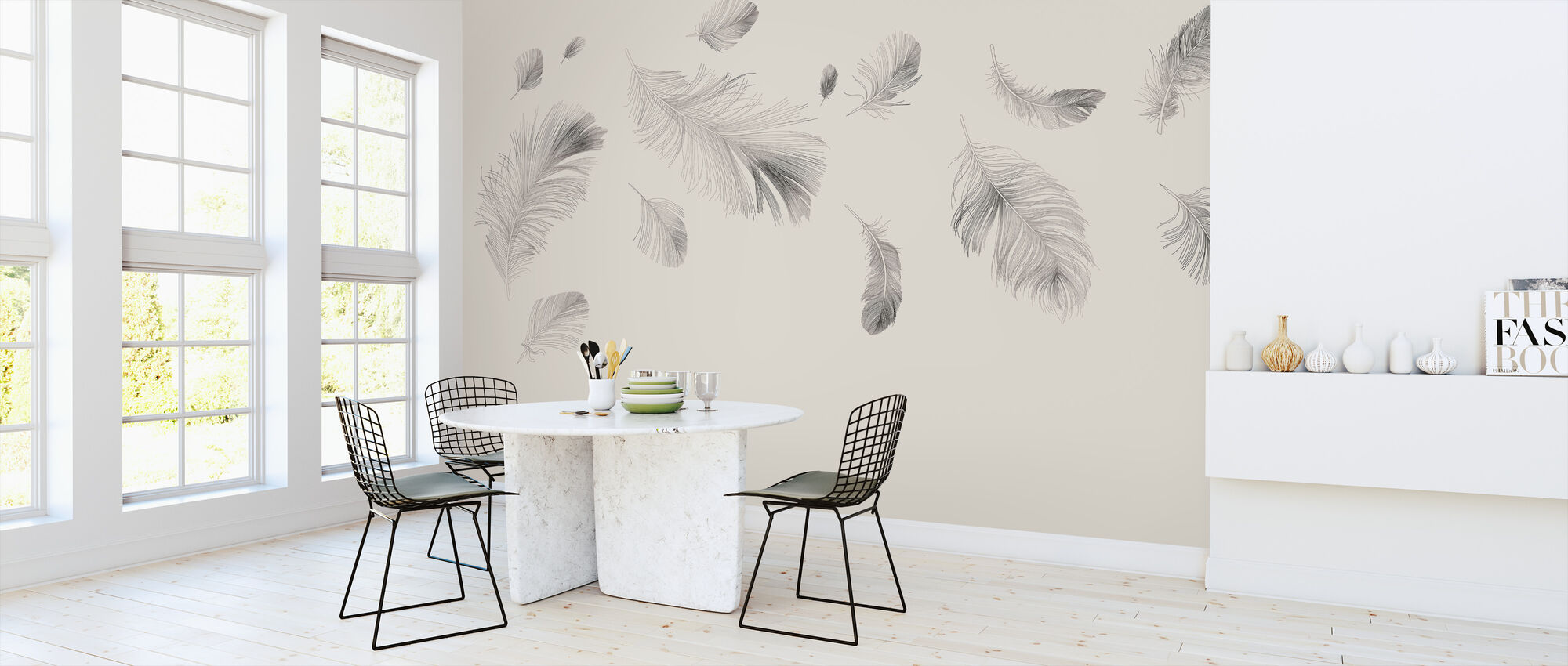Flying Feathers - Beige - Wallpaper - Kitchen