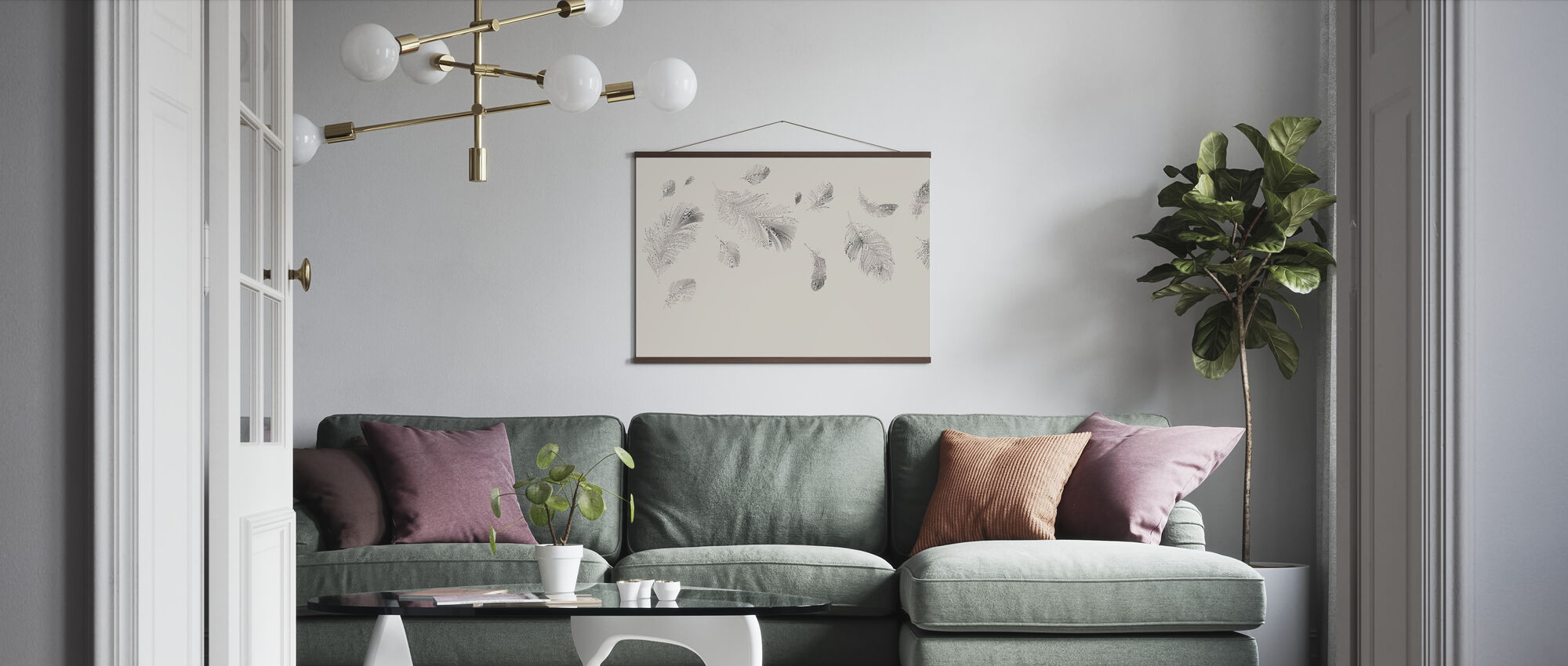 Flying Feathers - Beige - Poster - Living Room