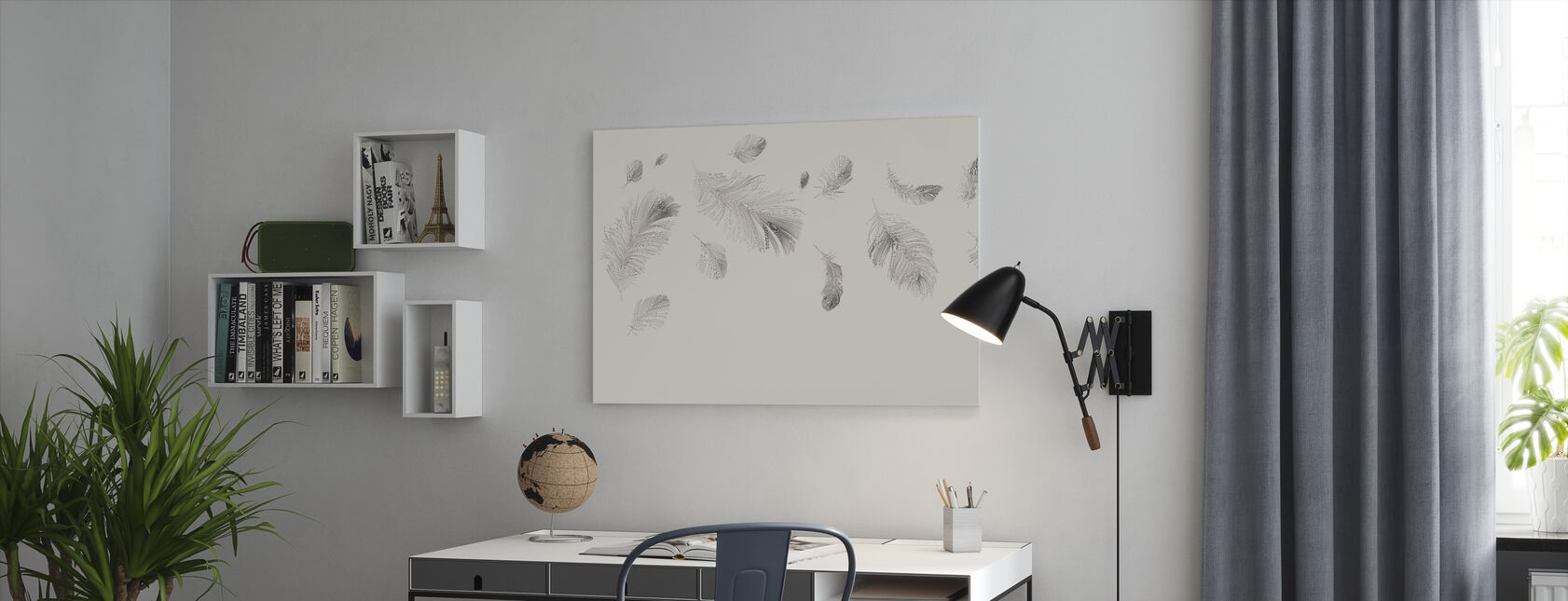 Flying Feathers - Beige - Canvas print - Office