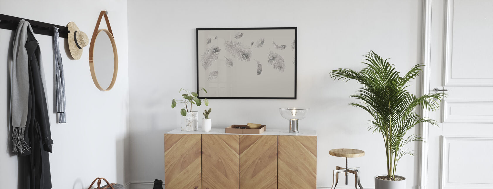 Flying Feathers - Beige - Framed print - Hallway