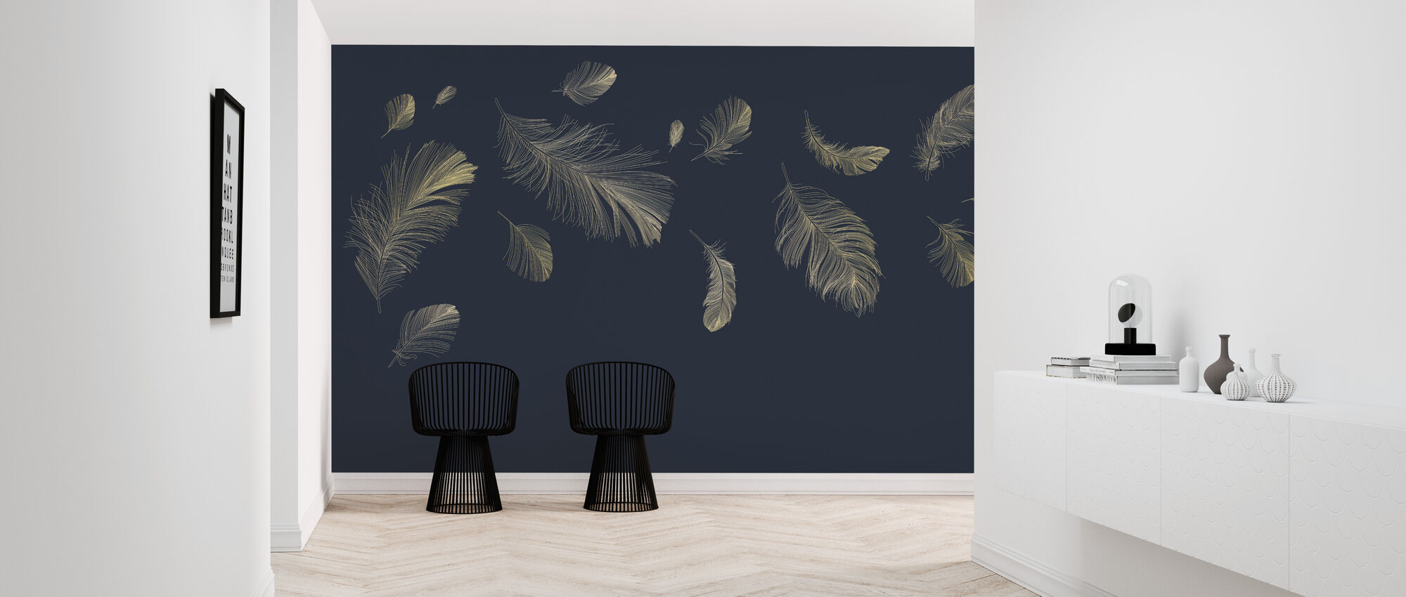 Flying Feathers - Blue - Wallpaper - Hallway