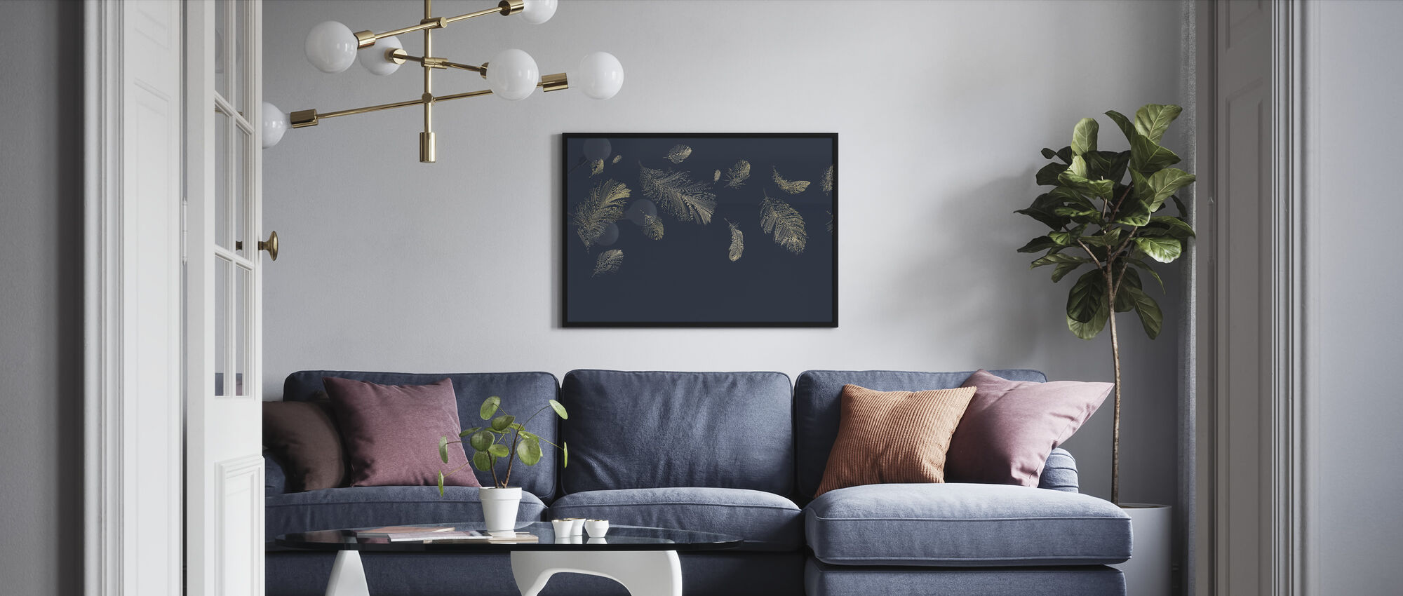Flying Feathers - Blue - Framed print - Living Room
