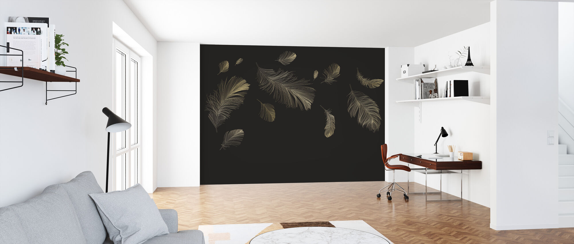Flying Feathers - Brown - Wallpaper - Office
