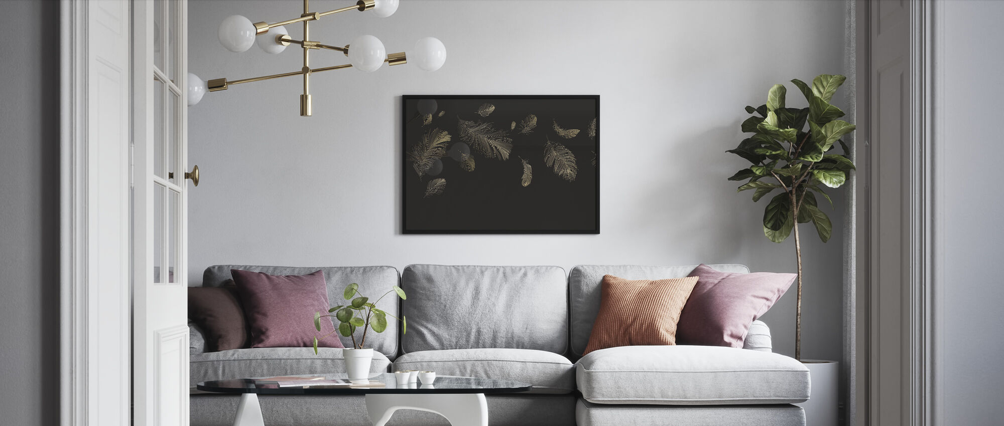 Flying Feathers - Brown - Framed print - Living Room