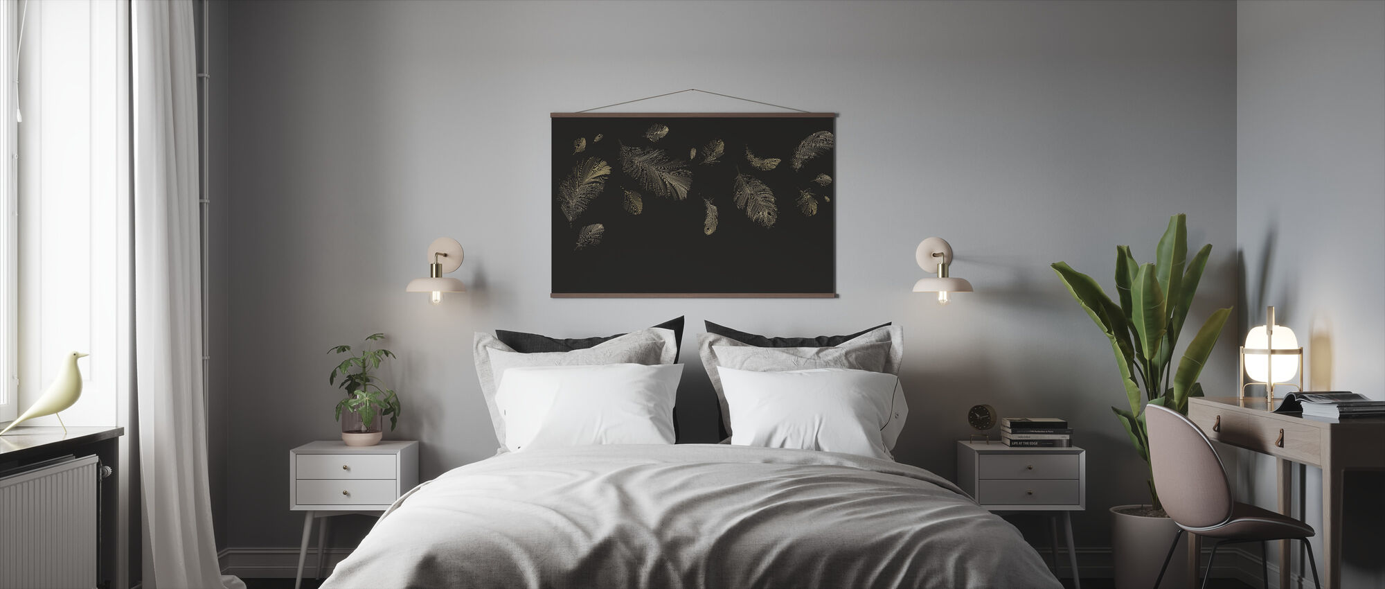 Flying Feathers - Brown - Poster - Bedroom
