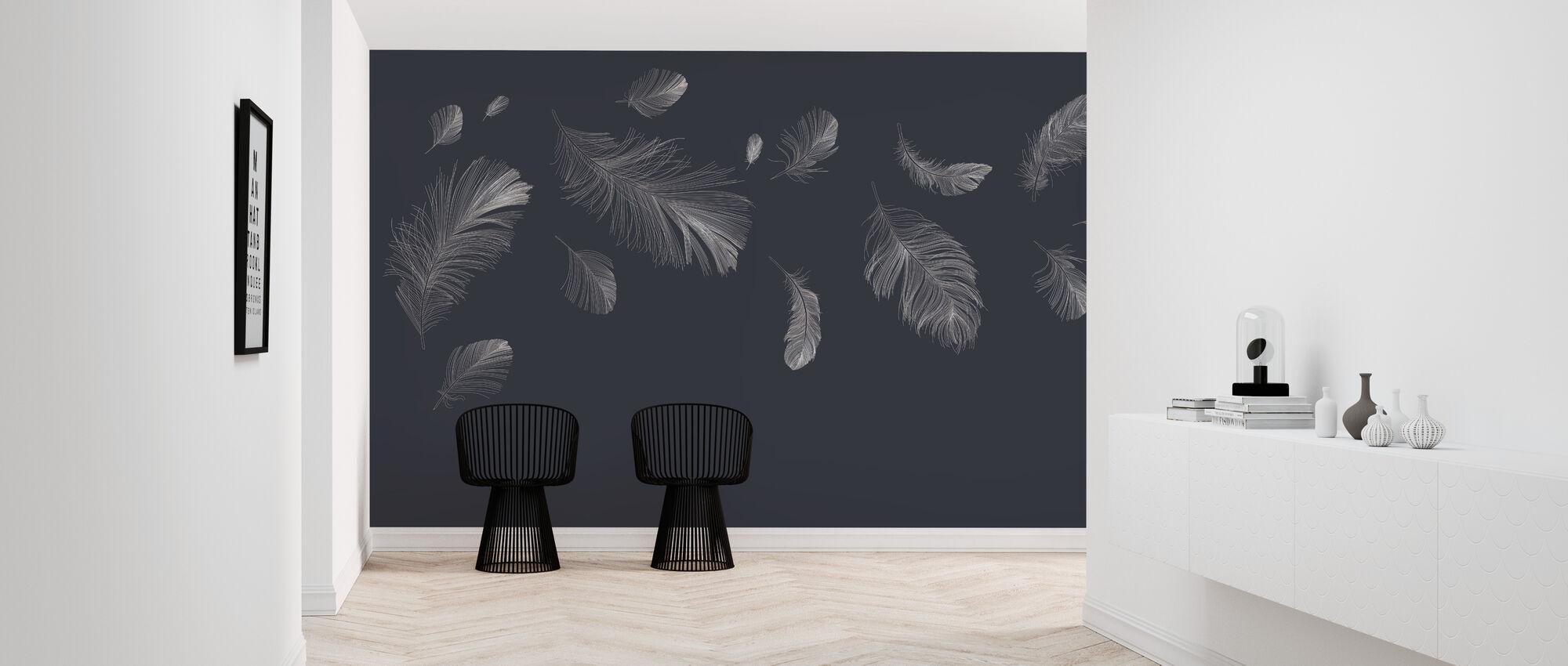 Flying Feathers - Dark Blue - Wallpaper - Hallway