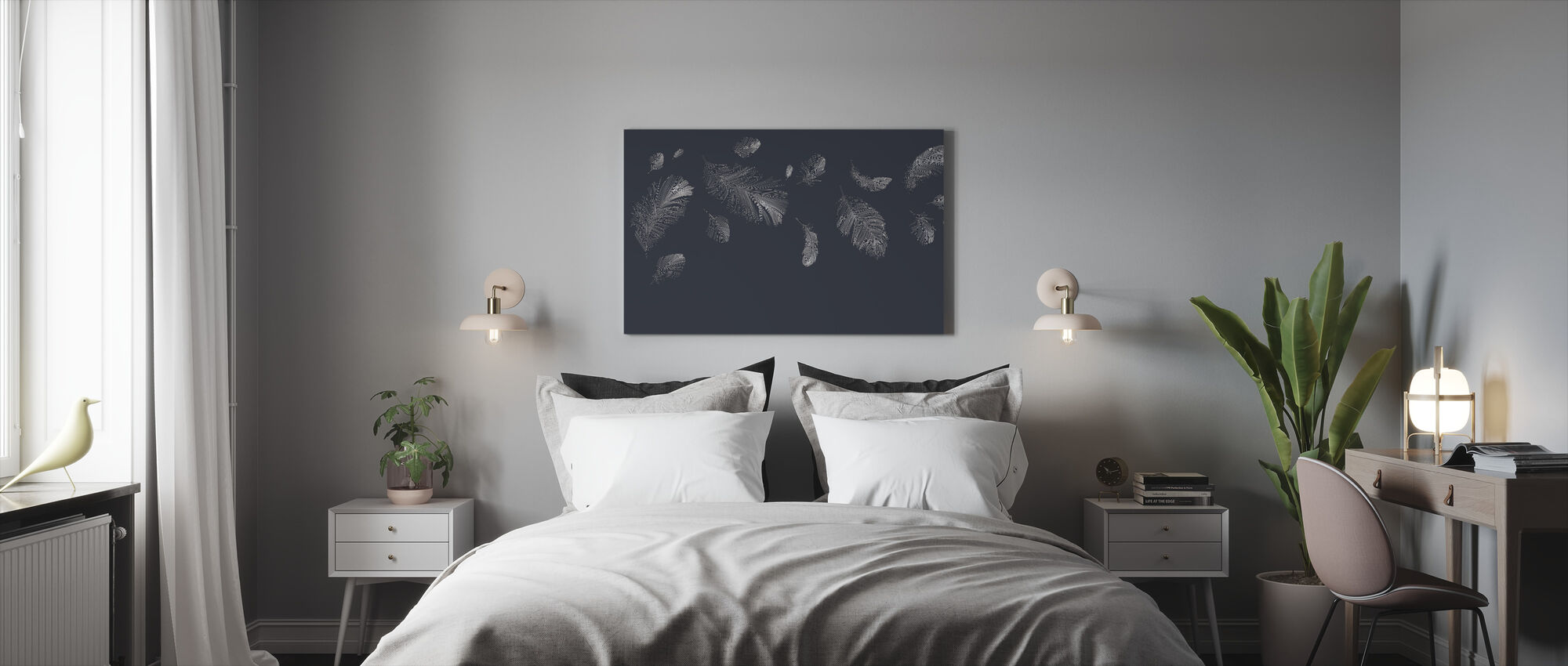 Flying Feathers - Dark Blue - Canvas print - Bedroom