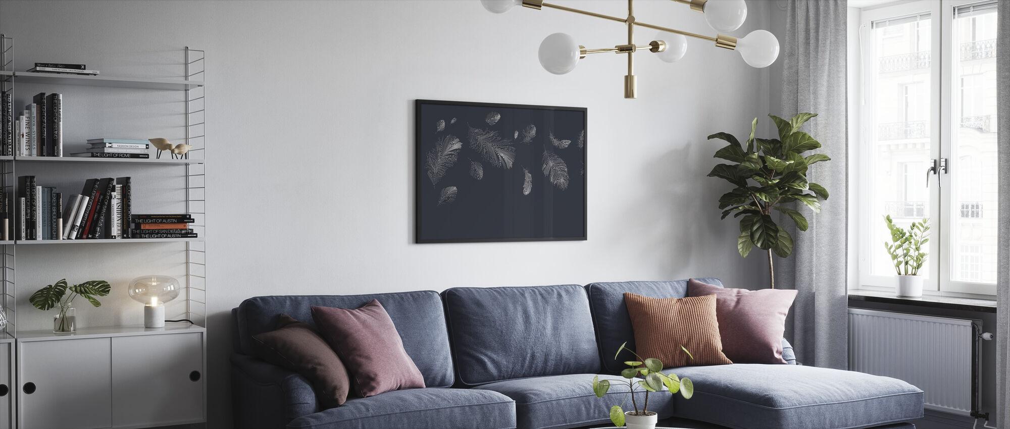 Flying Feathers - Dark Blue - Framed print - Living Room