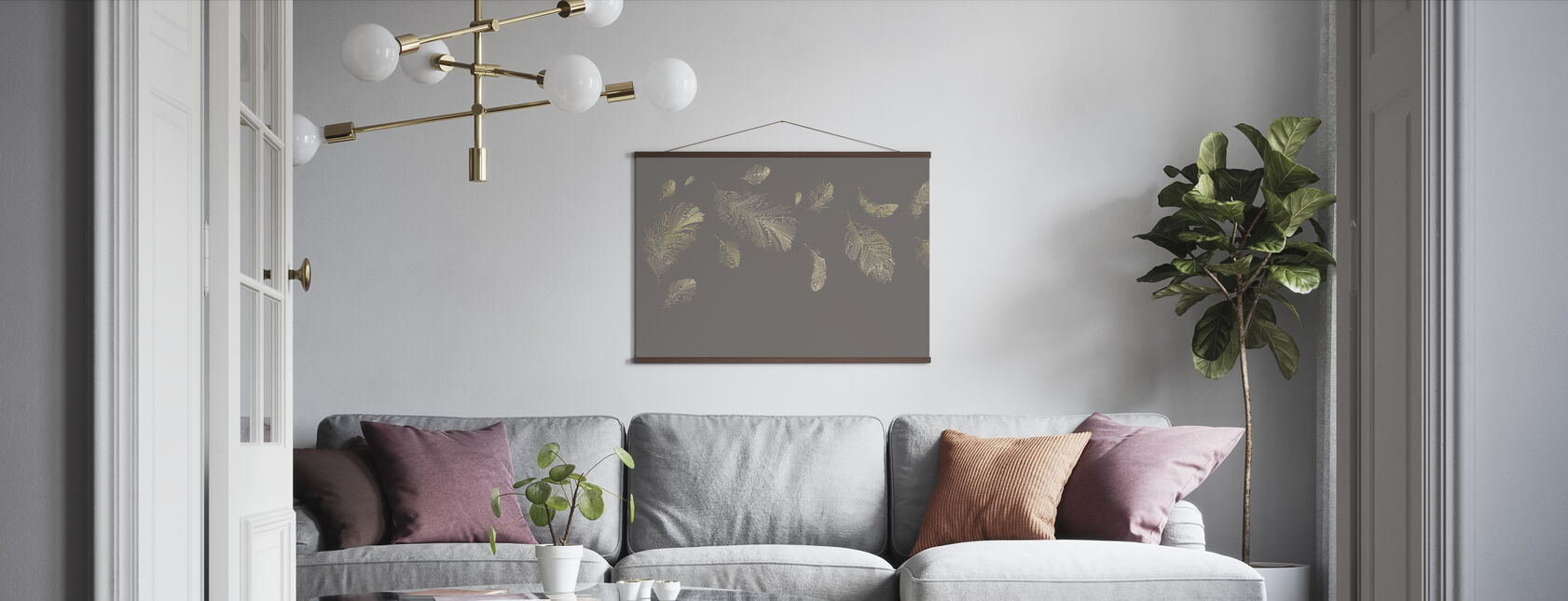 Flying Feathers - Grey - Poster - Living Room