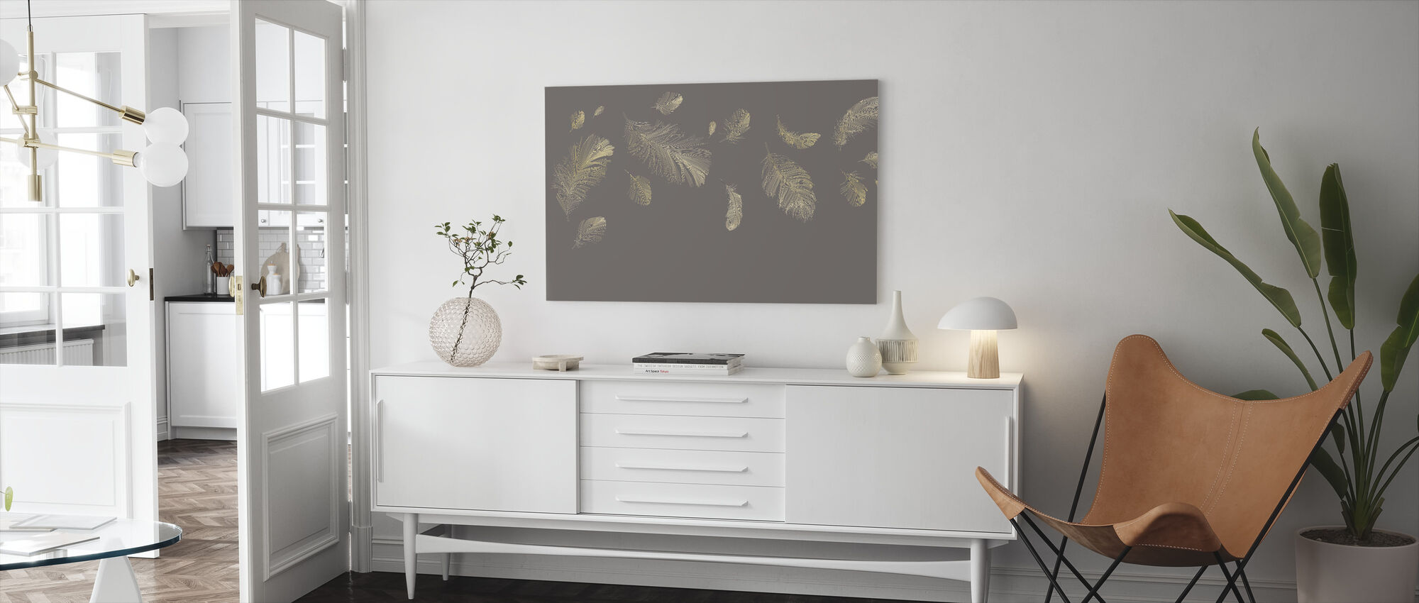 Flying Feathers - Grey - Canvas print - Living Room