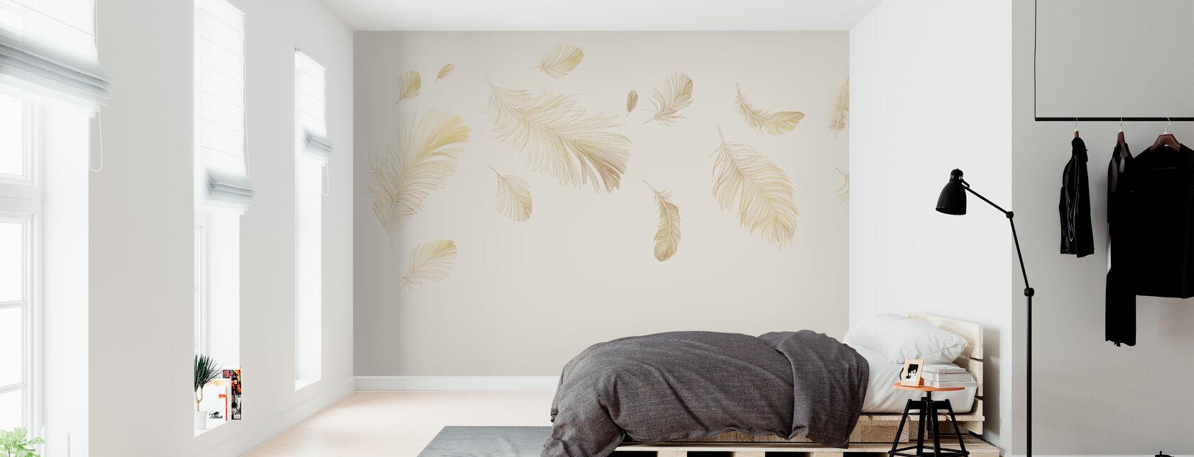 Flying Feathers - Soft Beige - Wallpaper - Bedroom