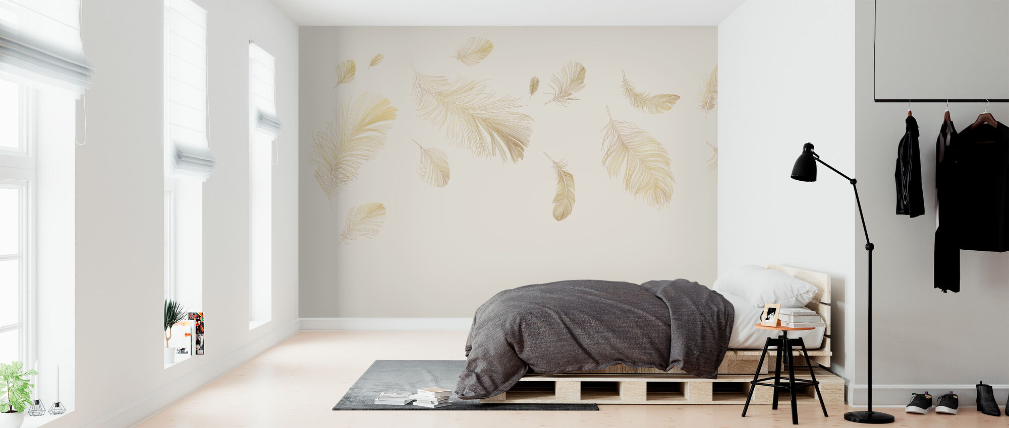 Flying Feathers - Soft Beige - Wallpaper - Bedroom