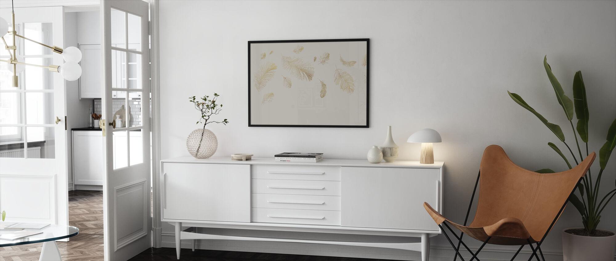 Flying Feathers - Soft Beige - Framed print - Living Room