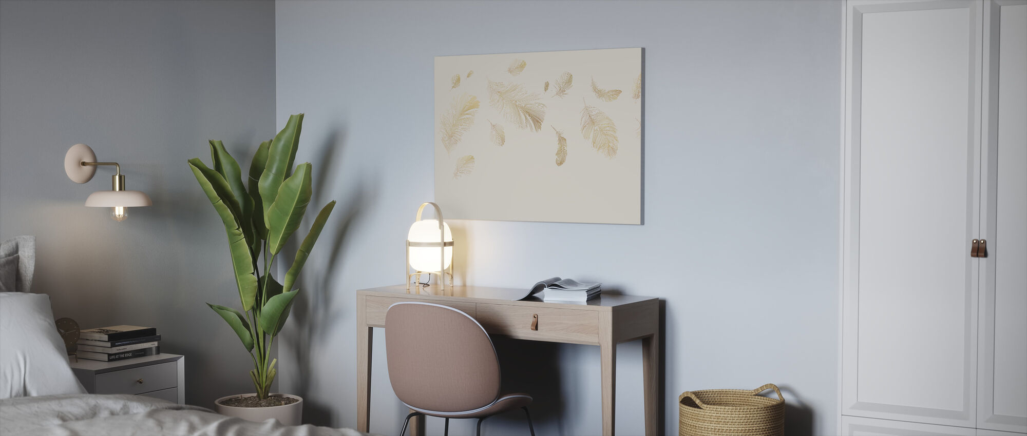 Flying Feathers - Soft Beige - Canvas print - Office