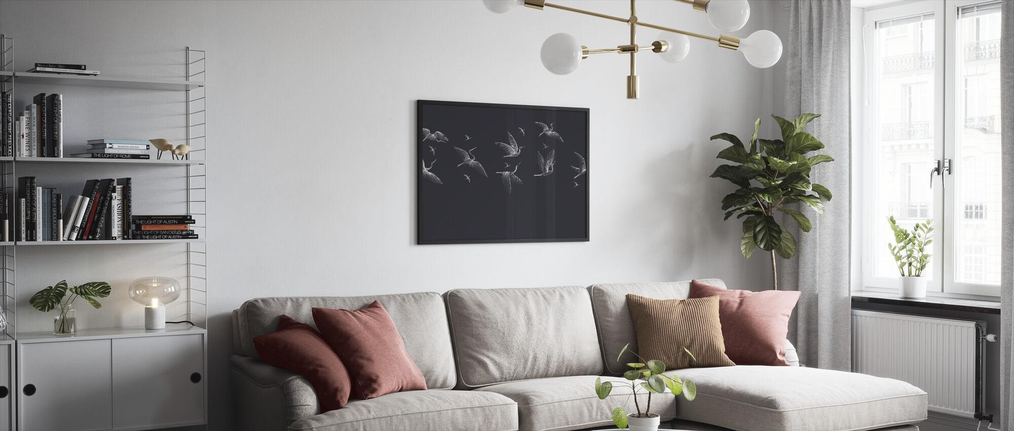 Where We Land - Blue - Framed print - Living Room