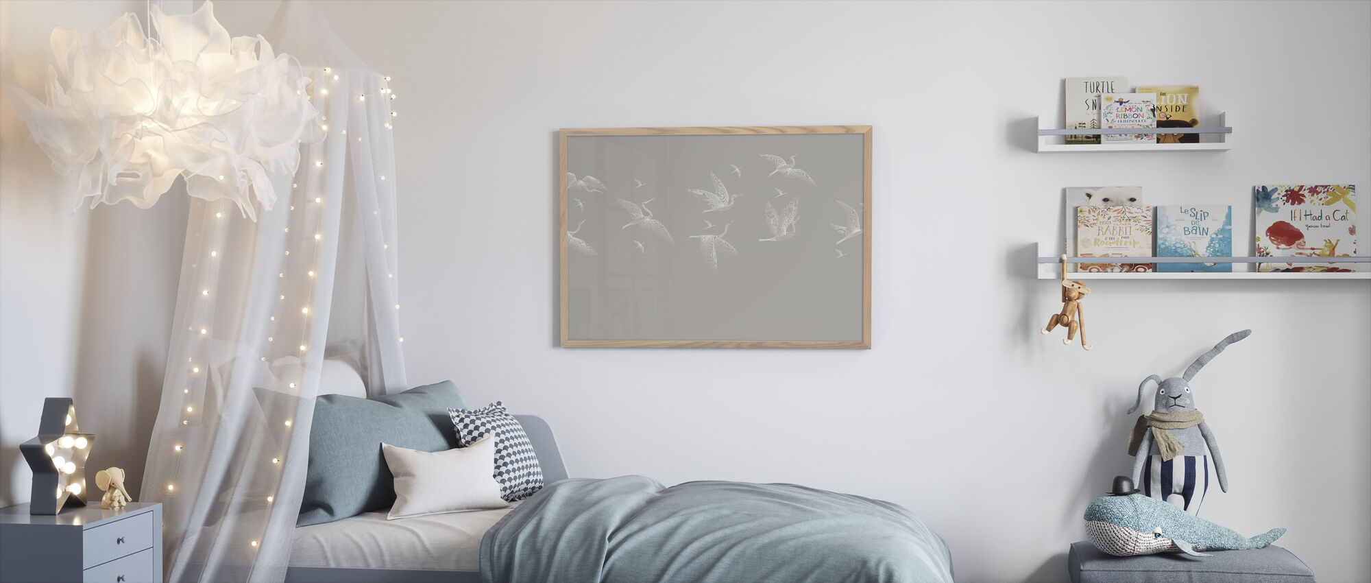 Where We Land - Soft Beige - Framed print - Kids Room