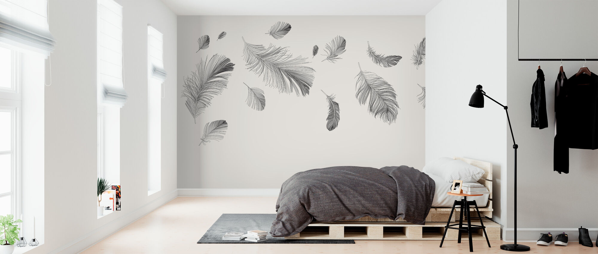 Flying Feathers - Bright - Wallpaper - Bedroom