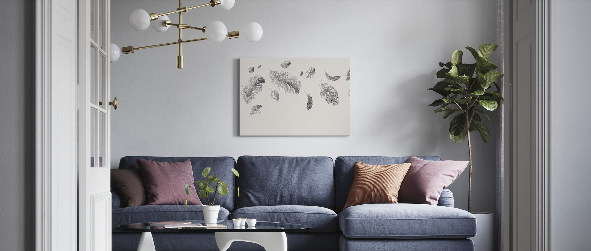 Flying Feathers - Bright - Canvas print - Living Room