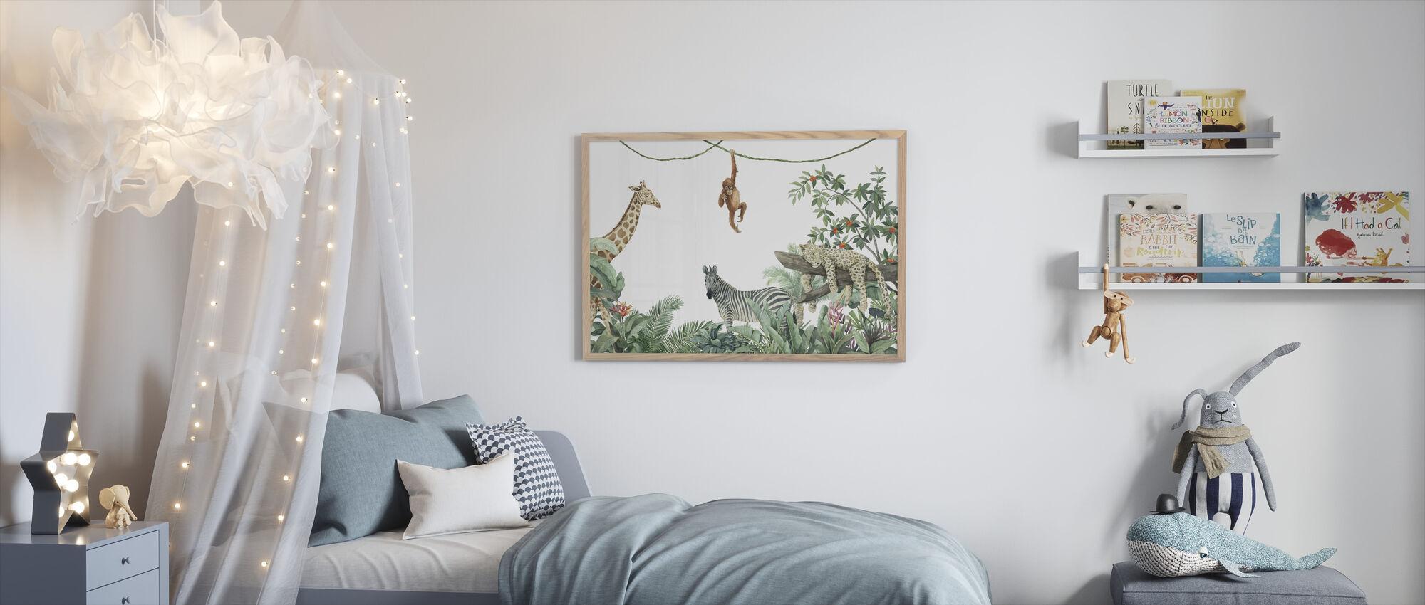 Jungle Vrienden - Ingelijste print - Kinderkamer