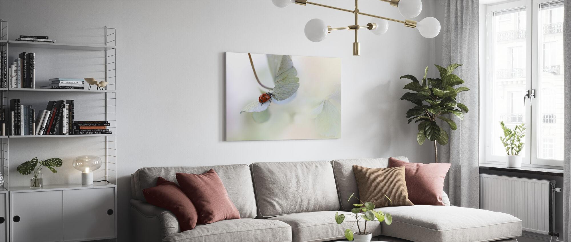 Ladybird on Blue Green Hydrangea - Canvas print - Living Room