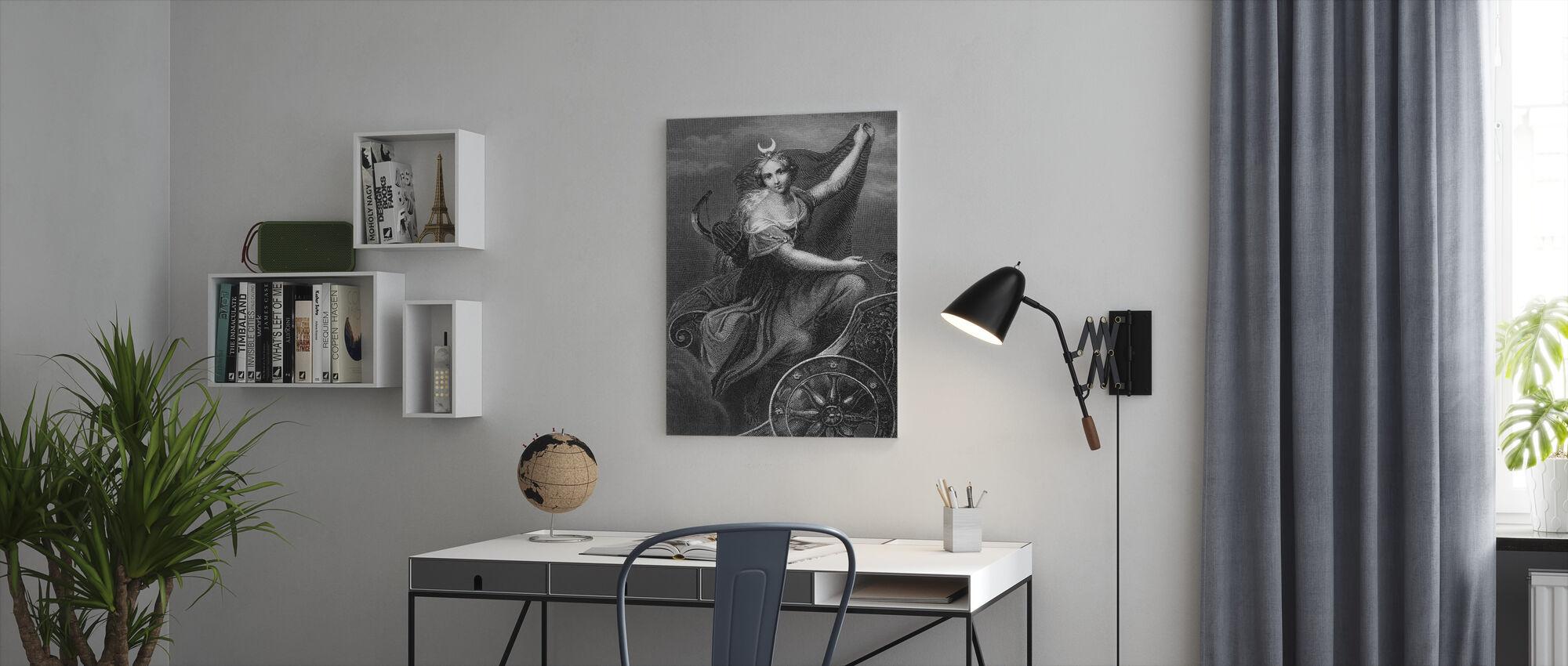 Romeinse godin van de jacht en de maan - Canvas print - Kantoor