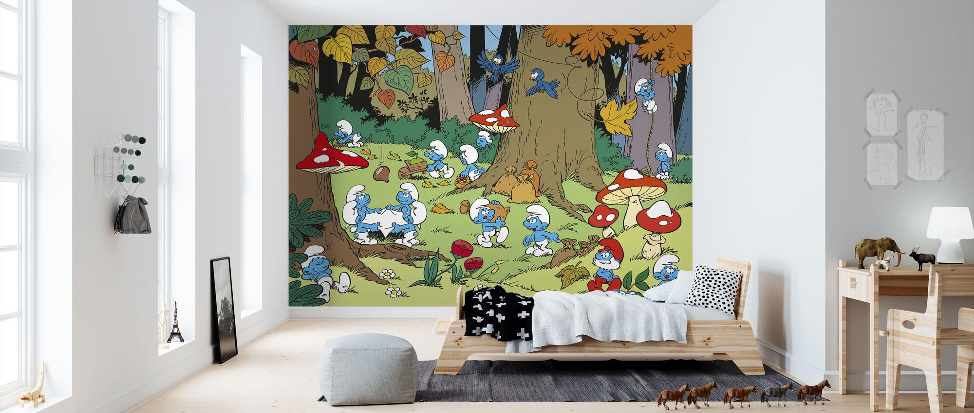 Smurfs - Autumn - Wallpaper - Kids Room