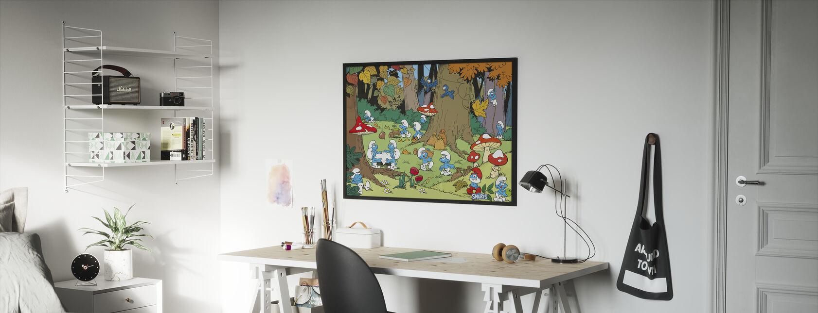 Smurffit - Syksy - Kehystetty kuva - Lastenhuone