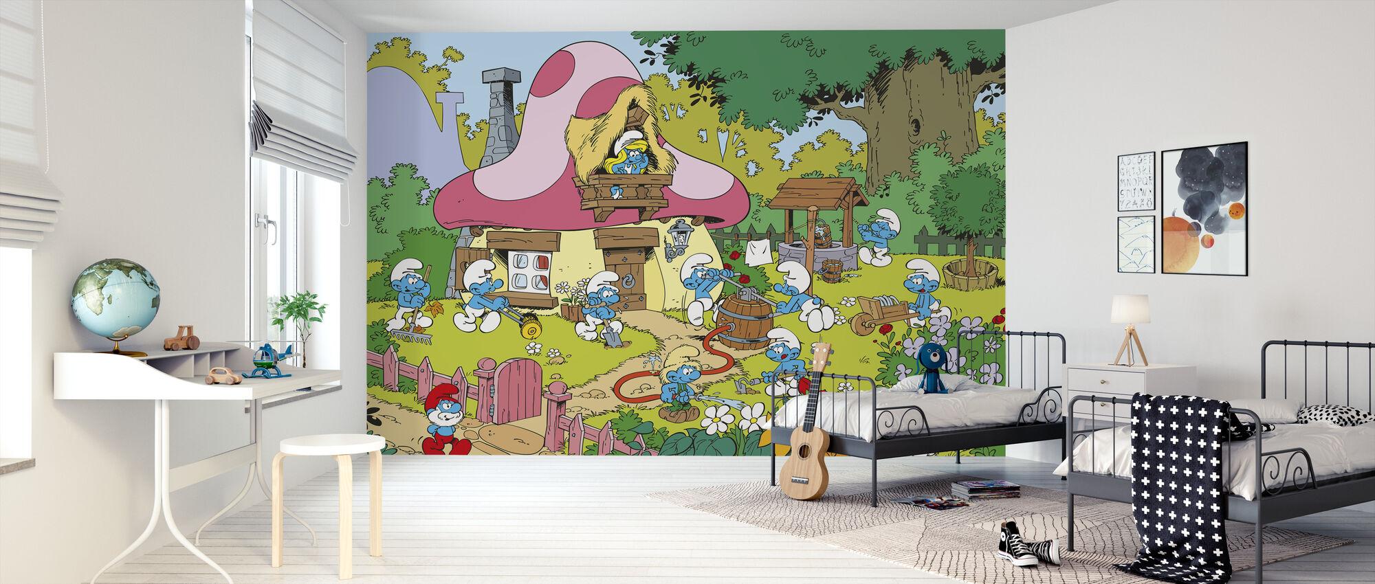 Smurffit - kevät - Tapetti - Lastenhuone
