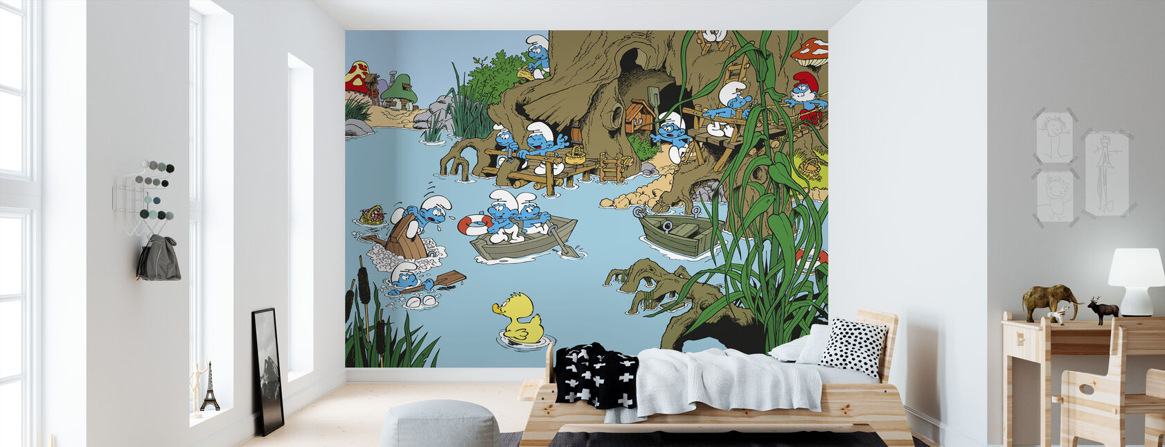 Smurfs - Summer - Wallpaper - Kids Room