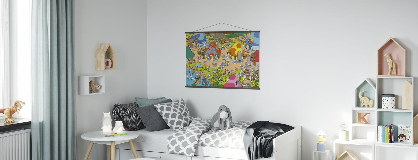 Smurfene - Landsby - Plakat - Barnerom