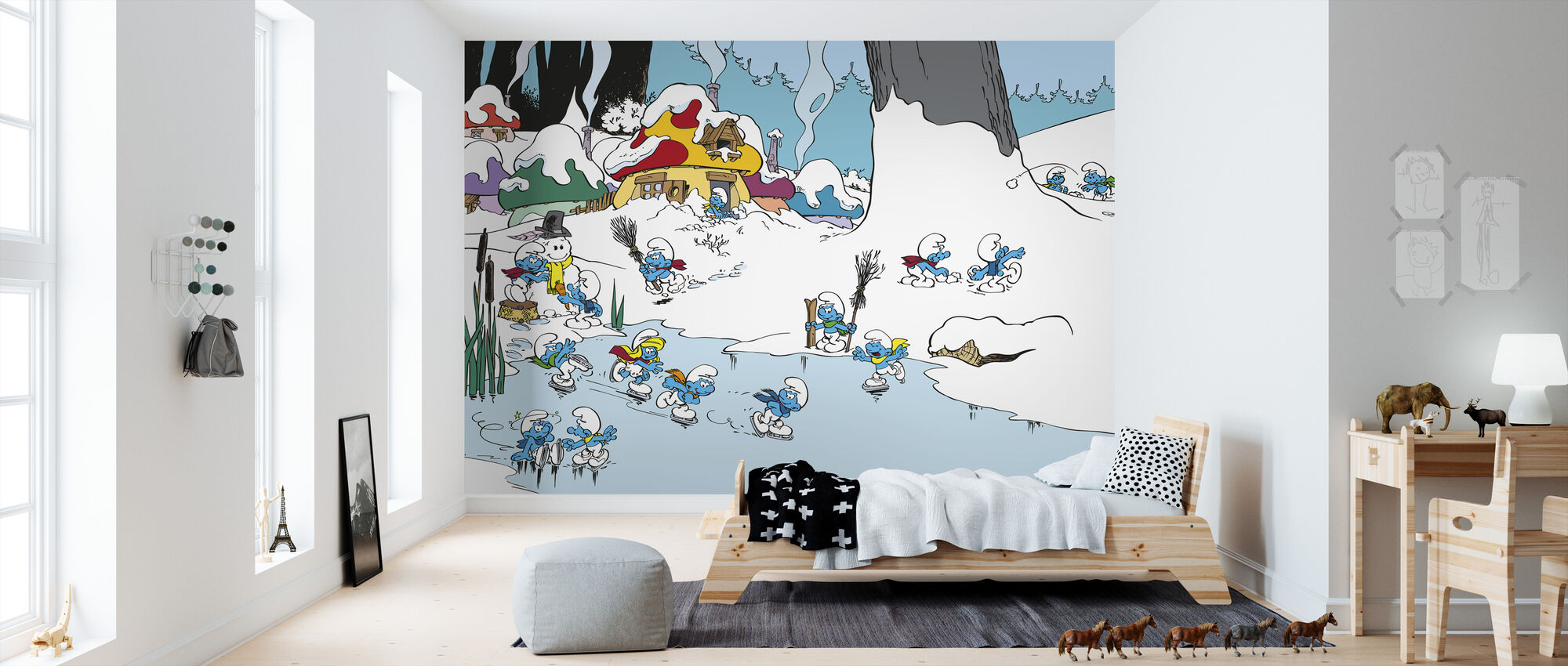 Smurfs - Winter - Wallpaper - Kids Room