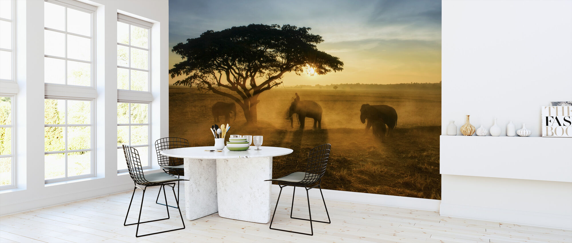 Morning Elephant Home Town - Wallpaper - Kitchen