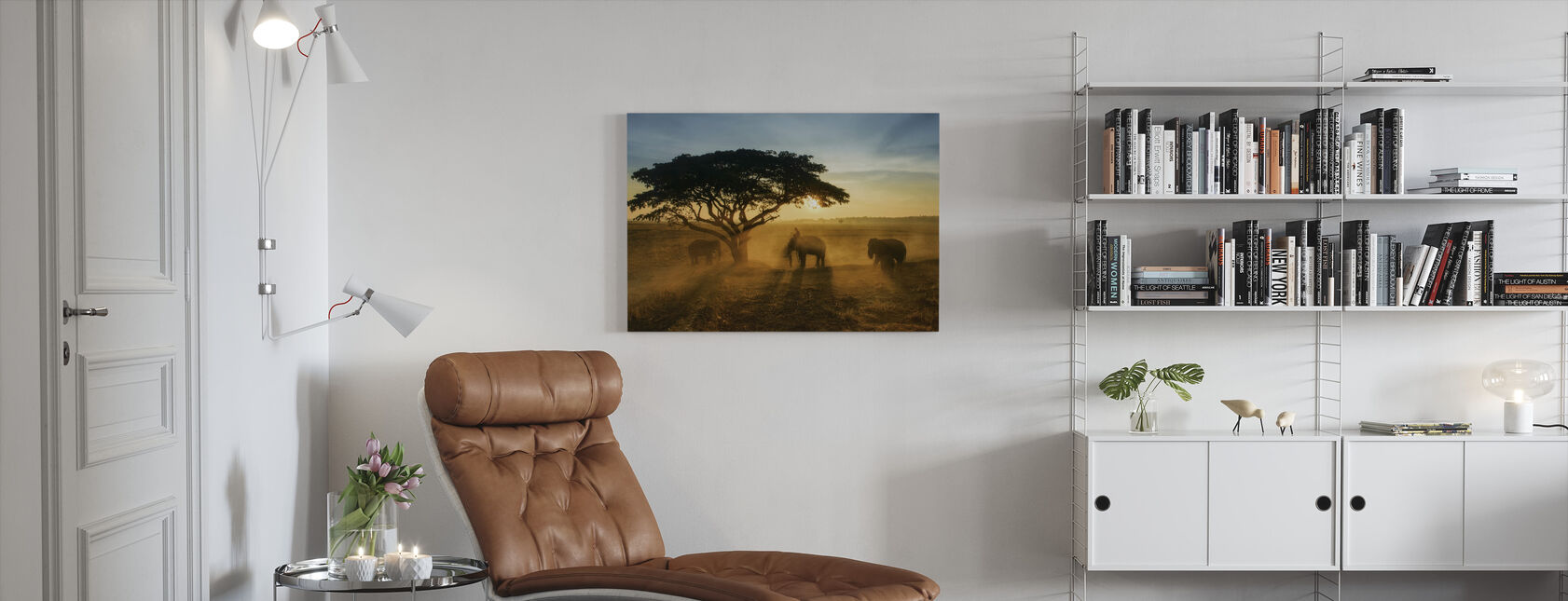 Morning Elephant Home Town - Canvas print - Living Room