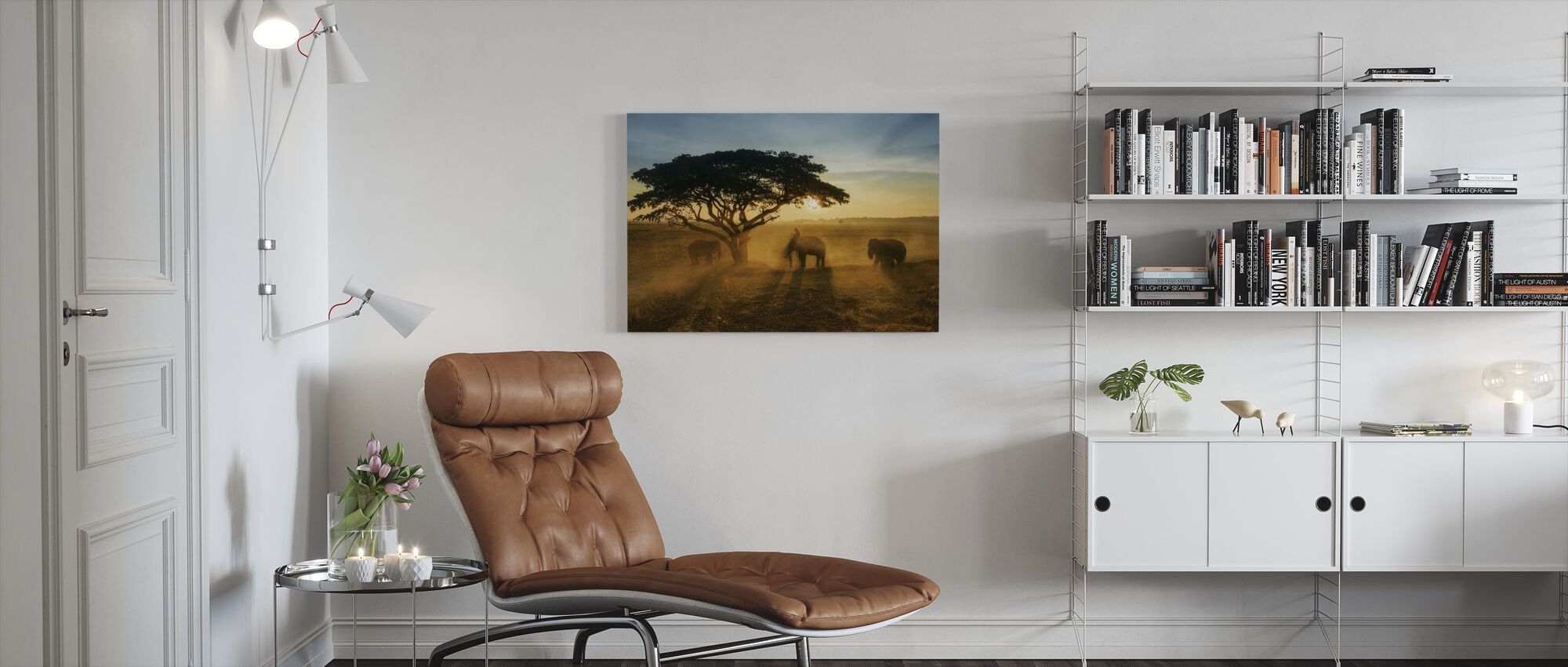 Ochtend olifant Home Town - Canvas print - Woonkamer