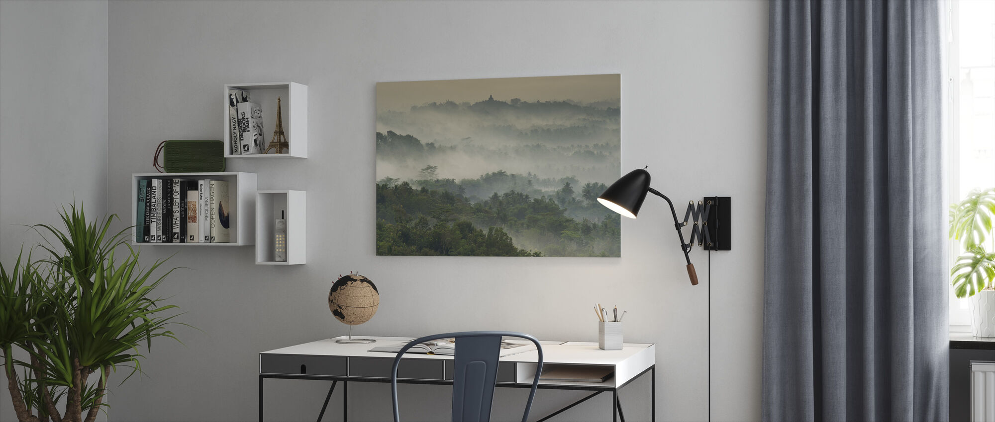 Temple in the Mist - Canvas print - Office