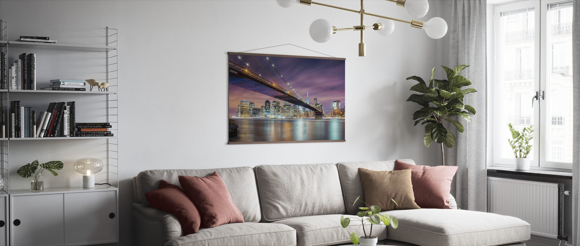 Brooklyn Bridge at Night - Poster - Living Room